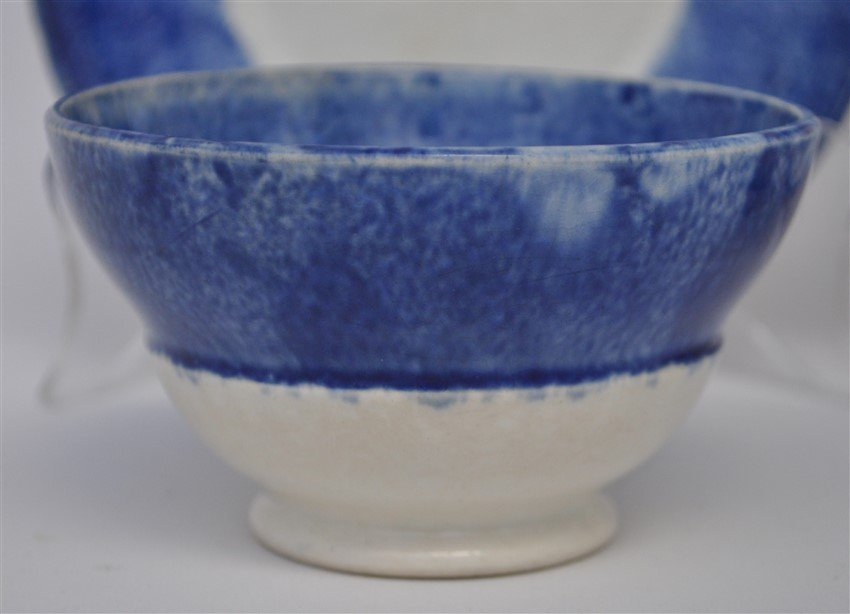 2 9TH C. SPATTERWARE HANDLELESS CUPS / SAUCERS - 3