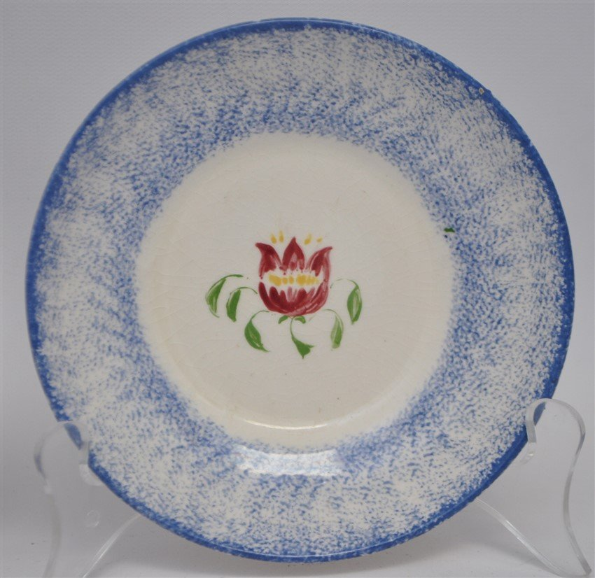 2 9TH C. SPATTERWARE HANDLELESS CUPS / SAUCERS - 4