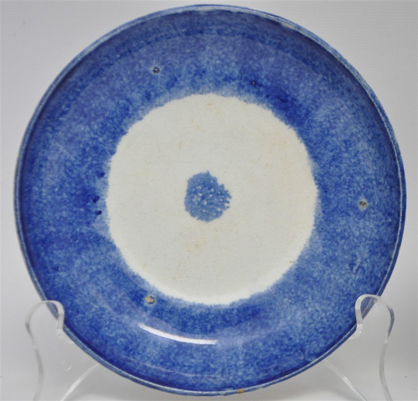 2 9TH C. SPATTERWARE HANDLELESS CUPS / SAUCERS - 5