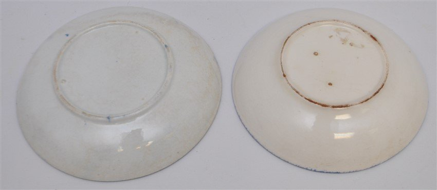2 9TH C. SPATTERWARE HANDLELESS CUPS / SAUCERS - 6