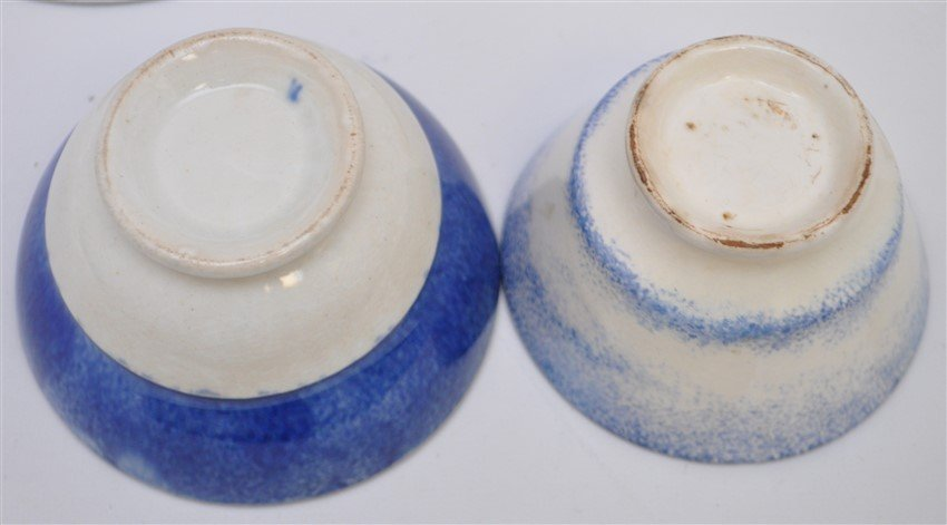 2 9TH C. SPATTERWARE HANDLELESS CUPS / SAUCERS - 7