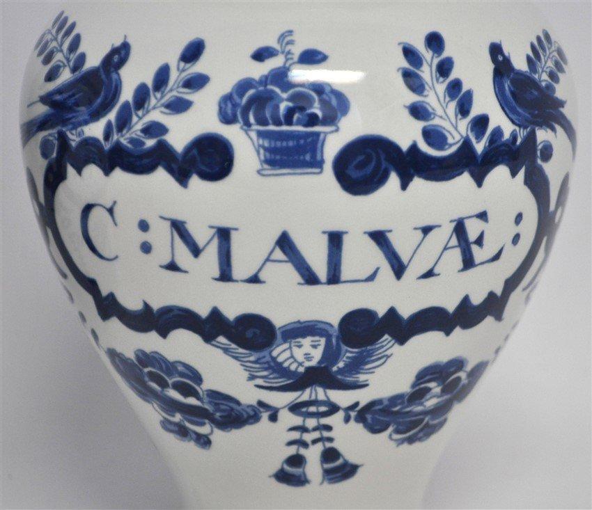 PAIR OF DELFT APOTHECARY JARS C: MALVAE - 2