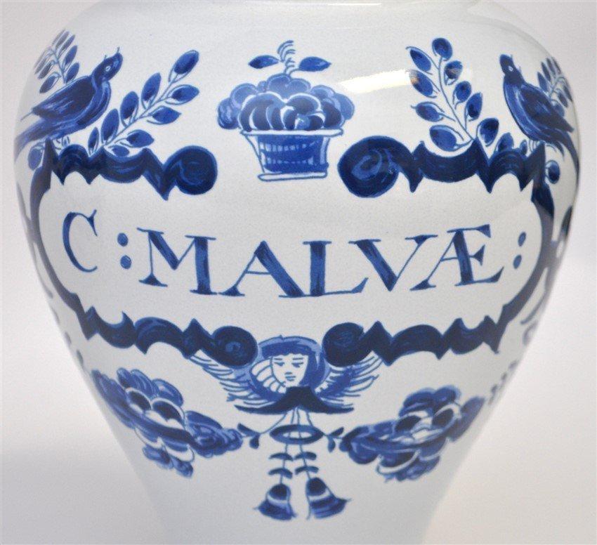 PAIR OF DELFT APOTHECARY JARS C: MALVAE - 3