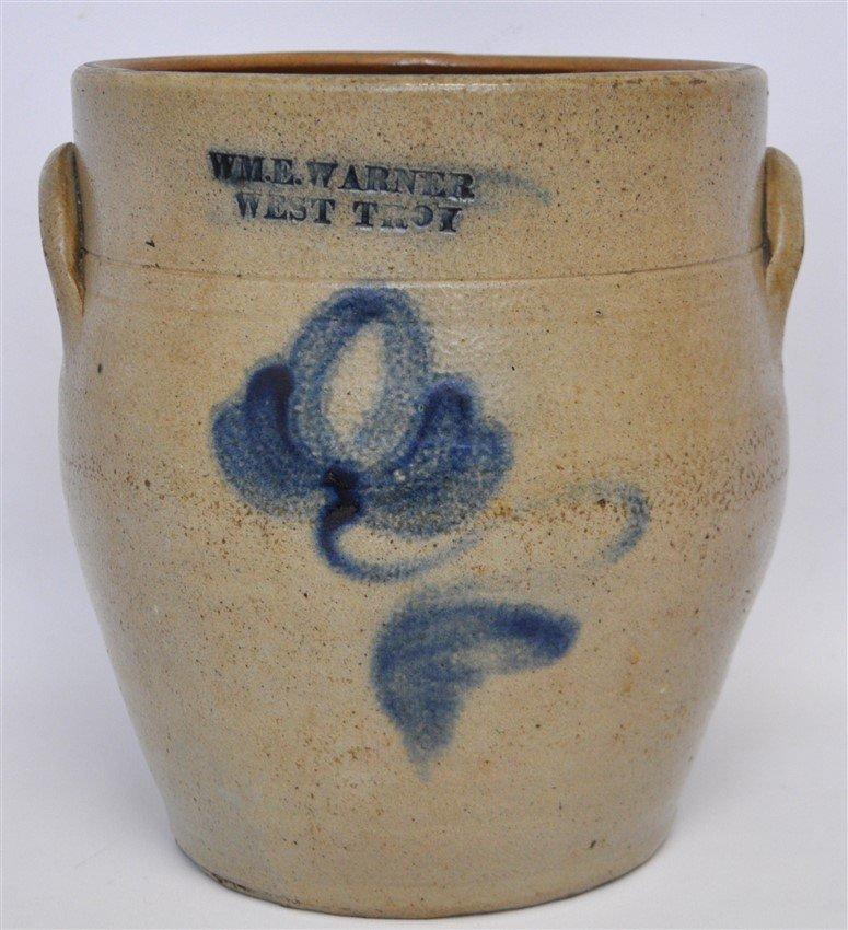 c. 1850 WM E WARNER COBALT DECORATED CROCK