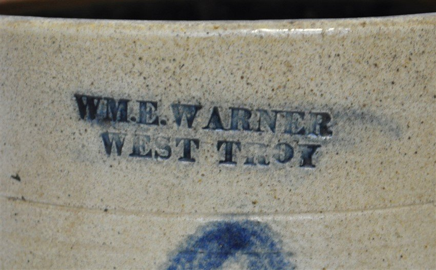 c. 1850 WM E WARNER COBALT DECORATED CROCK - 2