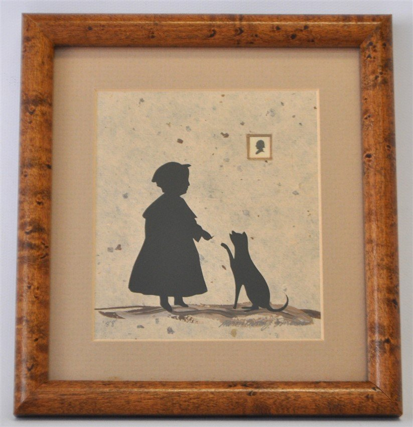 ORIGINAL ALISON SHRIVER GIRL & CAT SILHOUETTE