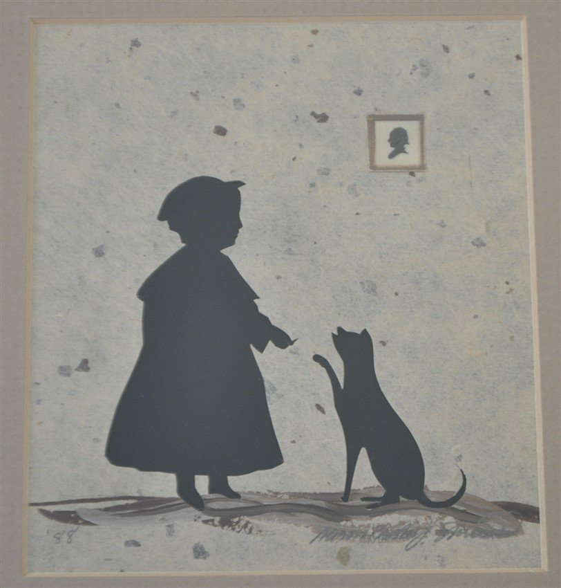 ORIGINAL ALISON SHRIVER GIRL & CAT SILHOUETTE - 2