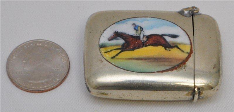 ANTIQUE ENAMEL RACE HORSE MATCH SAFE / VESTA - 8