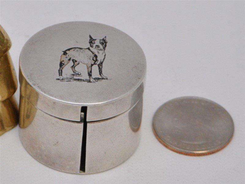 STERLING SILVER BULL TERRIER STAMP DISPENSER BOX - 8