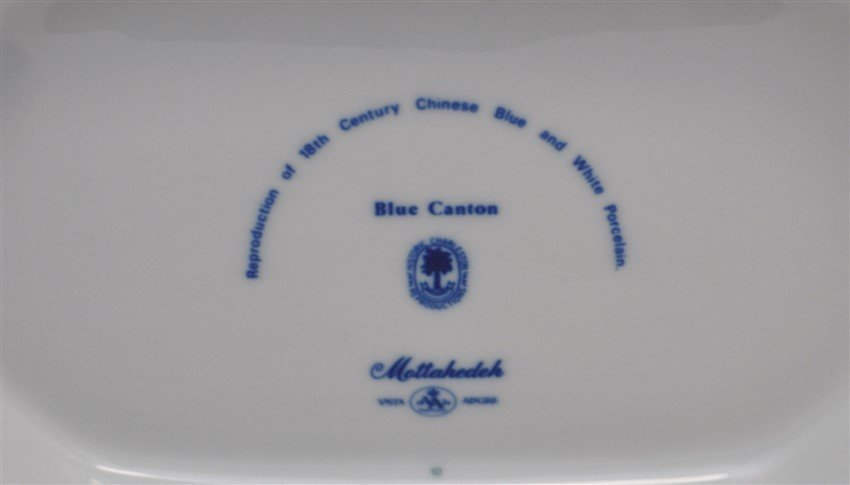 LARGE MOTTAHEDEH BLUE CANTON TUREEN & UNDERPLATE - 10