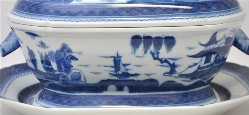 LARGE MOTTAHEDEH BLUE CANTON TUREEN & UNDERPLATE - 2