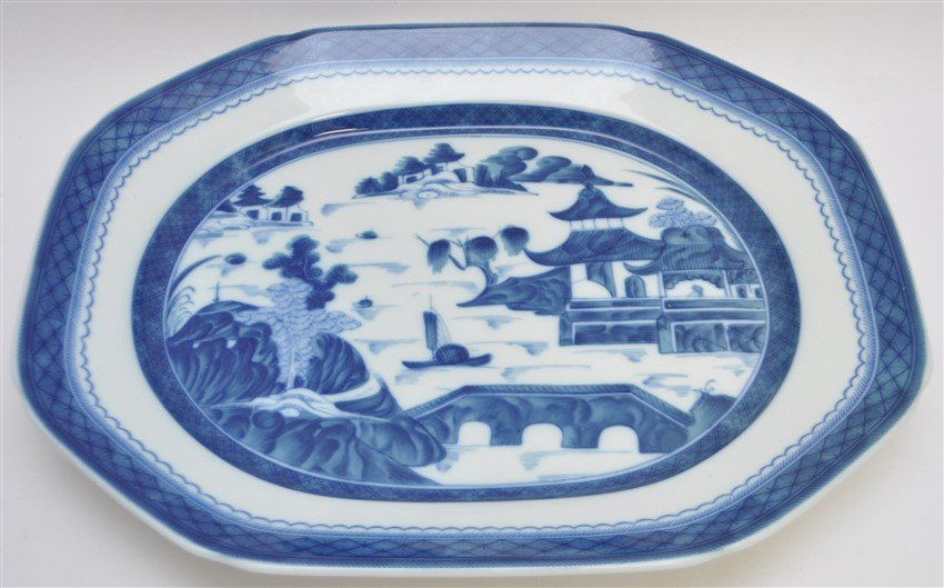 LARGE MOTTAHEDEH BLUE CANTON TUREEN & UNDERPLATE - 4