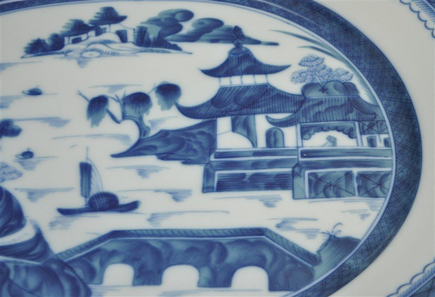 LARGE MOTTAHEDEH BLUE CANTON TUREEN & UNDERPLATE - 5