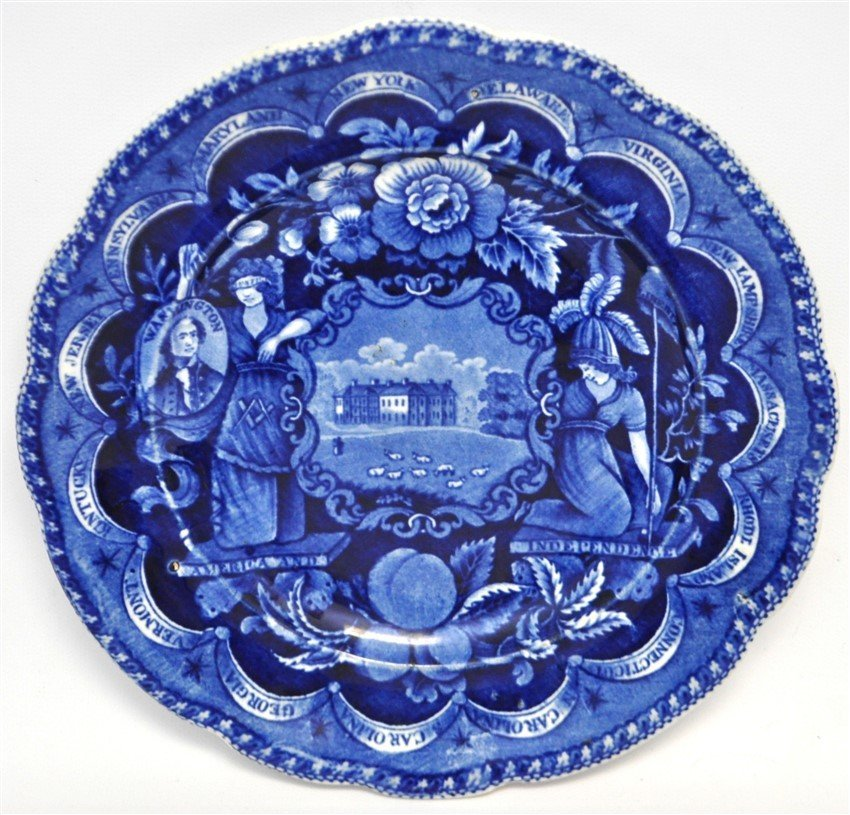 1820 AMERICA & INDEPENDENCE STAFFORDSHIRE PLATE