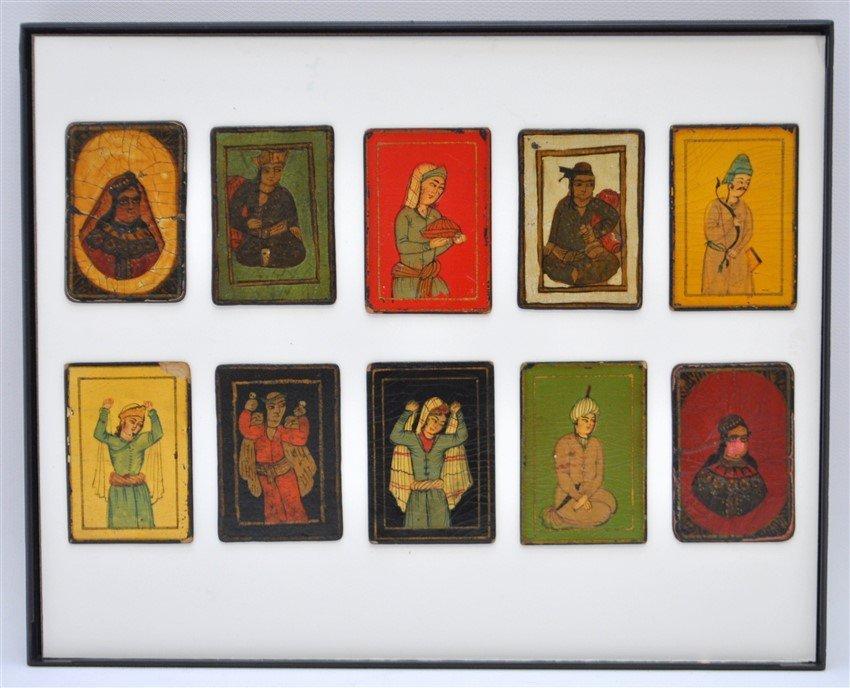 TEN 19th c. PERSIAN PLAYING CARDS AS-NAS