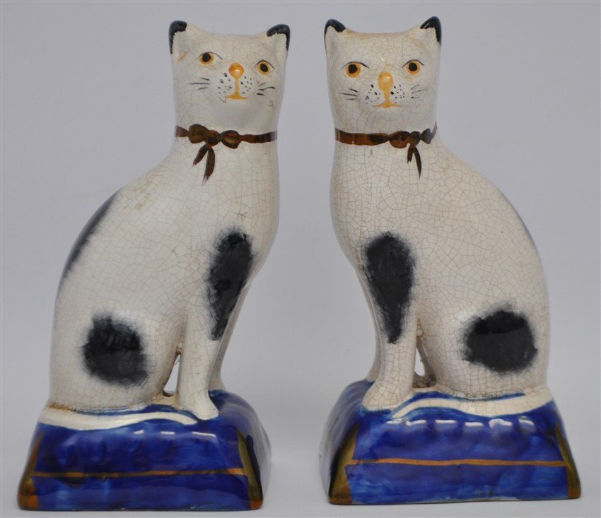 PAIR 19TH c. STAFFORDSHIRE SEATED CATS