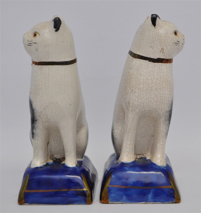 PAIR 19TH c. STAFFORDSHIRE SEATED CATS - 4