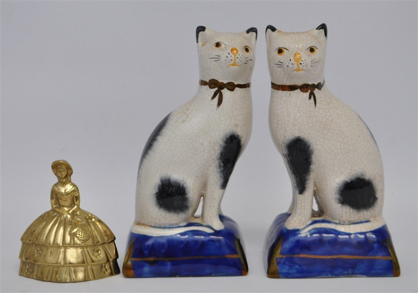 PAIR 19TH c. STAFFORDSHIRE SEATED CATS - 6