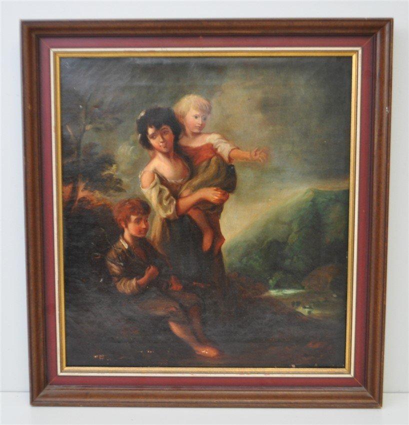 ENGLISH OIL c. 1890 MOTHER & CHILDREN