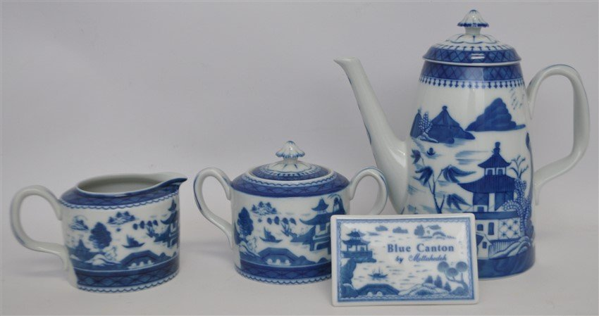 4 PC MOTTAHEDEH BLUE CANTON COFFEE SERVICE