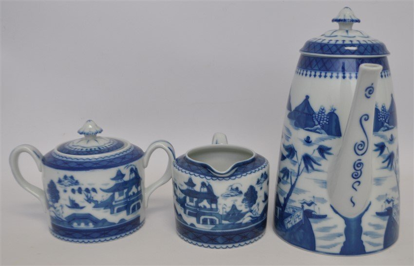 4 PC MOTTAHEDEH BLUE CANTON COFFEE SERVICE - 3