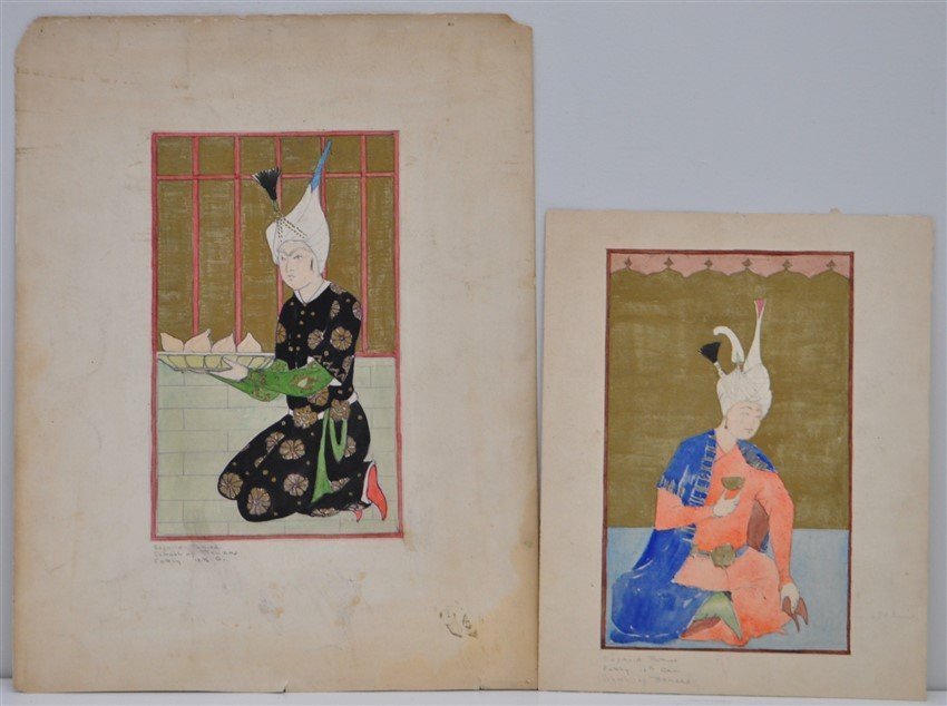 PAIR PERSIAN MINIATURE PAINTINGS