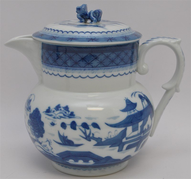MOTTAHEDEH BLUE CANTON PITCHER AND LID - 4