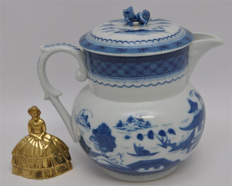 MOTTAHEDEH BLUE CANTON PITCHER AND LID - 8
