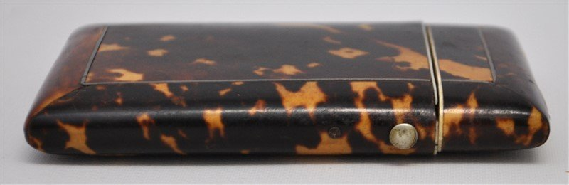 ENGLISH 19th c. TORTOISE SHELL CARD CASE - 2