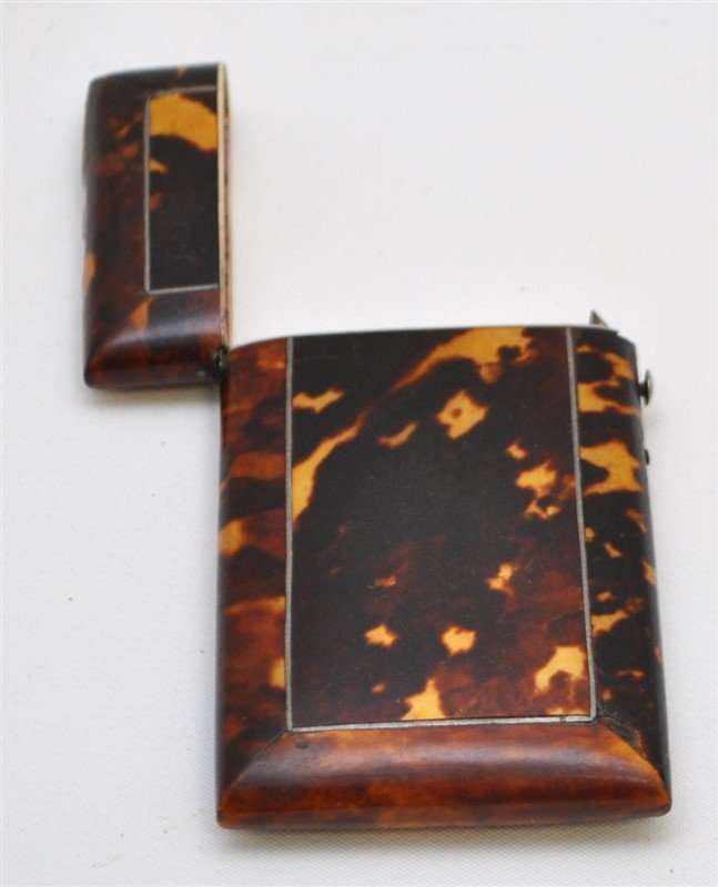 ENGLISH 19th c. TORTOISE SHELL CARD CASE - 4