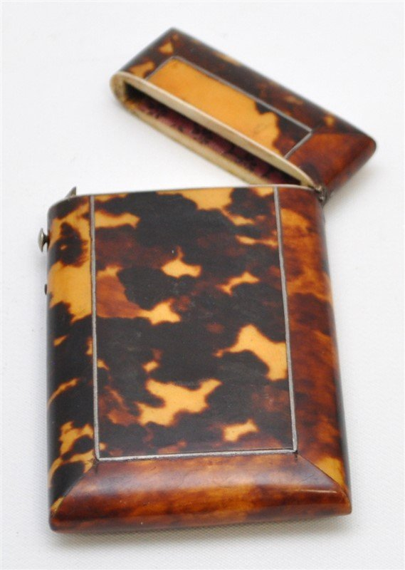 ENGLISH 19th c. TORTOISE SHELL CARD CASE - 5