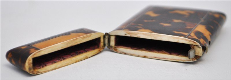 ENGLISH 19th c. TORTOISE SHELL CARD CASE - 6