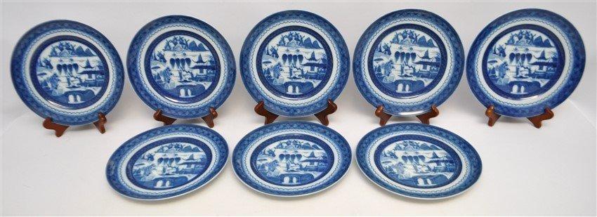 8 MOTTAHEDEH BLUE CANTON SALAD DESSERT PLATES - 2