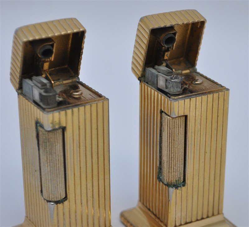 PAIR OF DUNHILL ROLLALITE GOLD PLATED TABLE LIGHTERS - 2