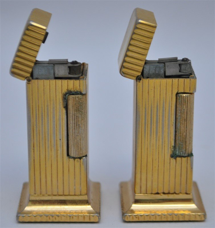 PAIR OF DUNHILL ROLLALITE GOLD PLATED TABLE LIGHTERS - 3