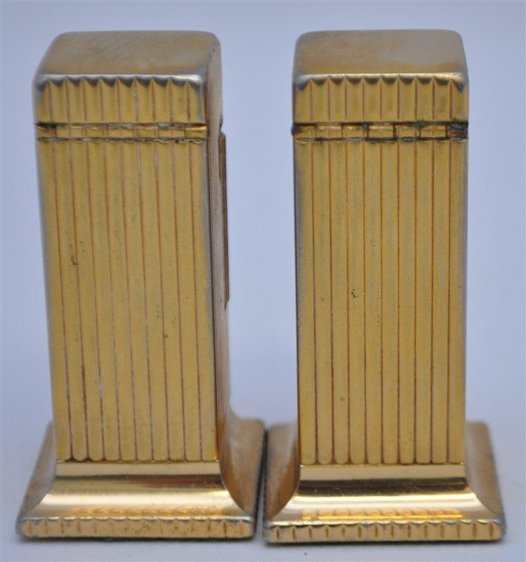 PAIR OF DUNHILL ROLLALITE GOLD PLATED TABLE LIGHTERS - 4