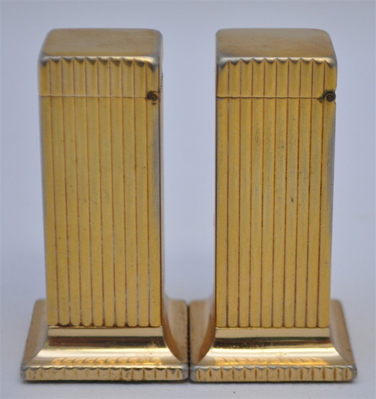 PAIR OF DUNHILL ROLLALITE GOLD PLATED TABLE LIGHTERS - 5