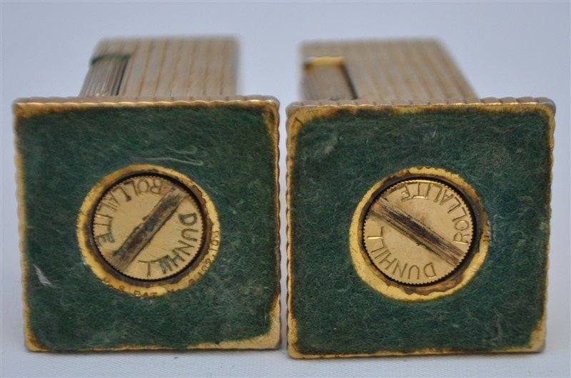 PAIR OF DUNHILL ROLLALITE GOLD PLATED TABLE LIGHTERS - 7