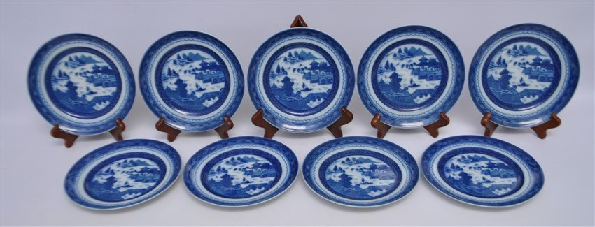 8 MOTTAHEDEH BLUE CANTON BREAD & BUTTER PLATES - 2