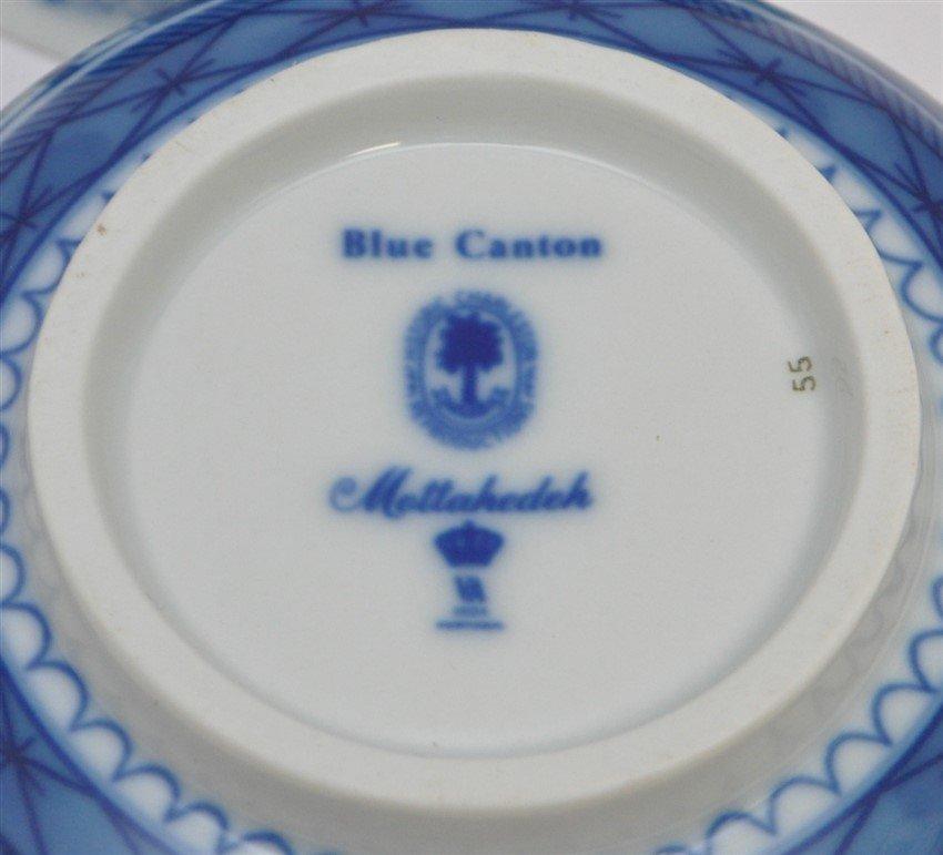 3 Pc MOTTAHEDEH BLUE CANTON TEAPOT & PORRINGERS - 10