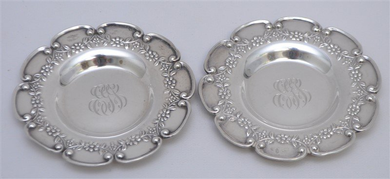 PAIR STERLING SILVER BLACK STARR FROST  BUTTER PATS