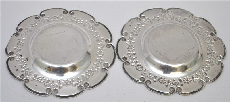 PAIR STERLING SILVER BLACK STARR FROST  BUTTER PATS - 6