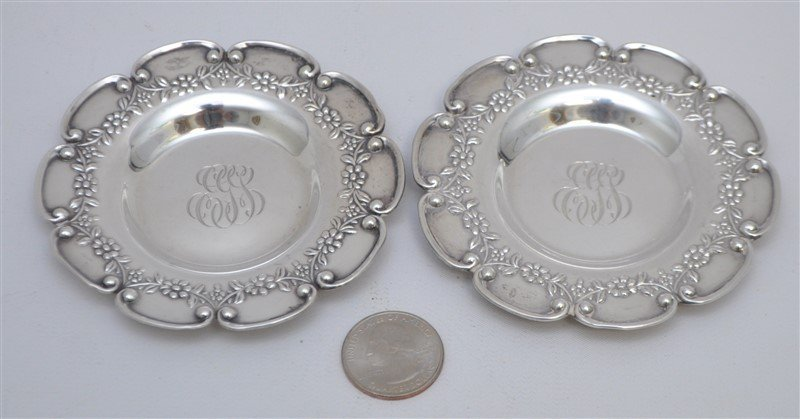 PAIR STERLING SILVER BLACK STARR FROST  BUTTER PATS - 8
