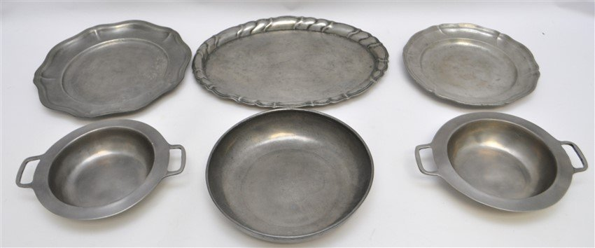 6 pc 19th c. PEWTER PLATES - TRAY - BOWLS