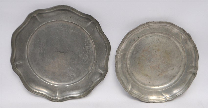 6 pc 19th c. PEWTER PLATES - TRAY - BOWLS - 3