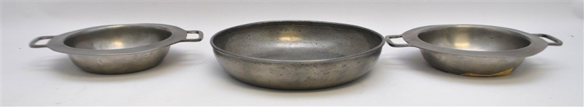 6 pc 19th c. PEWTER PLATES - TRAY - BOWLS - 4