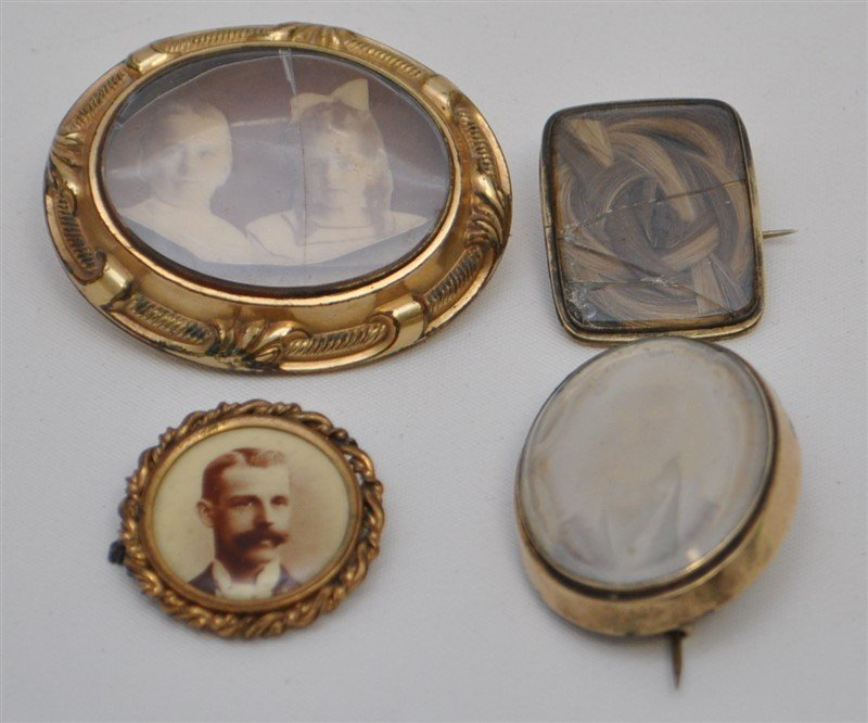4 pc VICTORIAN MOURNING BROOCHES