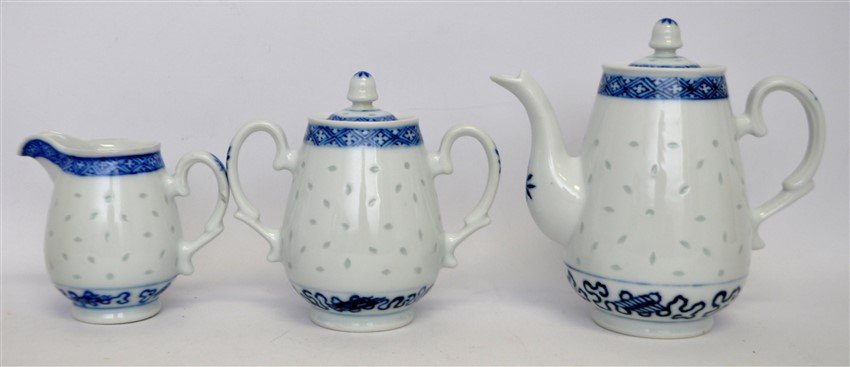 12 PC VINTAGE CHINESE EXPORT RICE GRAIN PORCELAIN - 4