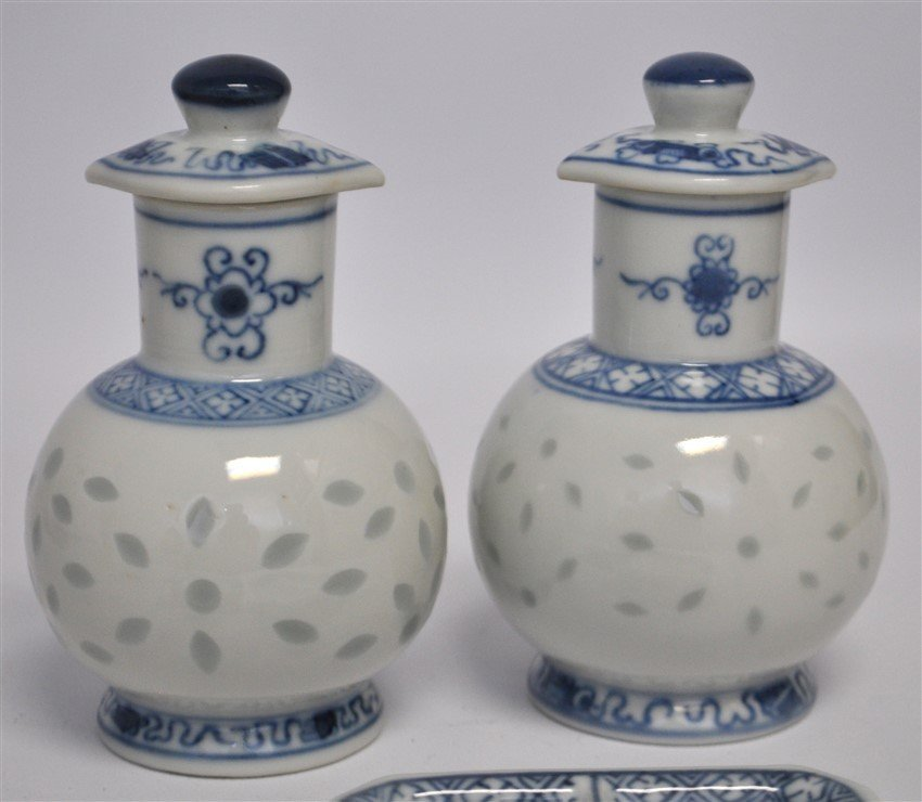 12 PC VINTAGE CHINESE EXPORT RICE GRAIN PORCELAIN - 5