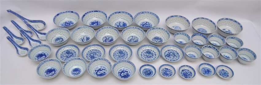 35 PC VINTAGE CHINESE EXPORT RICE GRAIN PORCELAIN